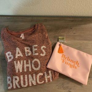 Brunch theme top and clutch purse bundle!